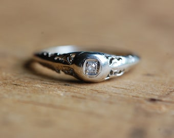 Antique 14K single cut stacking or anniversary band ∙ 1930s diamond stacking ring