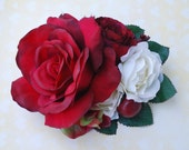 Unique dark red rose with red and green hydrangea,3 cream camellias, red small rose and berries vintage wedding bridal hairflower hair piece