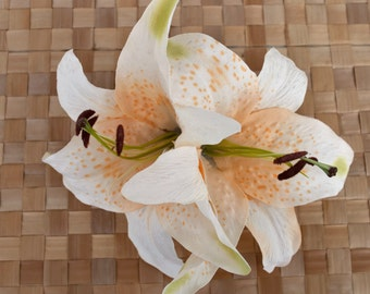 Amazing big pin up hair double lily flower in cream and  pastel orange rockabilly wedding vintage style 40s 50s