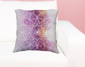 Sacred Geometry Pillow - Purple Watercolor Mandala Throw Pillow - Mandala Decor Gift - Sacred Geometry yoga studio bedroom Decor Gift