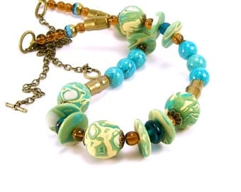 Beaded Necklac~ Polymer Clay Jewelry~ Turquoise Lime Boho Necklace~Eclectic Necklace~ Beachy Necklace~ For Her~Handmade Polymer Clay Jewelry