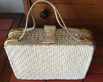 Handbag Italian White Straw Purse 1960s I Magnin Label USA 1960s Legendary Luxury Department Store