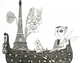 Etching / limited edition original etching (printmaking / graphic art) / original print / original art / love art / Paris art - 'Twosome'