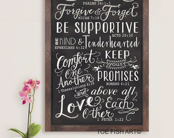 Chalkboard Family Rules Bible Scripture Verses  LARGE  Typography Word Art  Wood Wall Sign