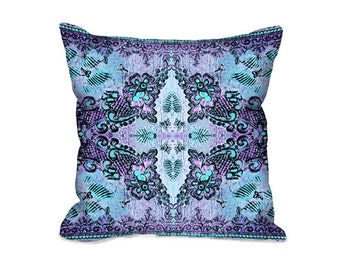 Throw Pillow Cover, boho pillow, bohemian pillow, lacy pillow, floral pillow, decorative pillow, aqua pillow, accent pillow, violet pillow