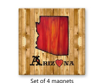 Fridge magnet set, Arizona state love, set of 4, refrigerator magnets, kitchen decor, art magnets, office decor, large magnets