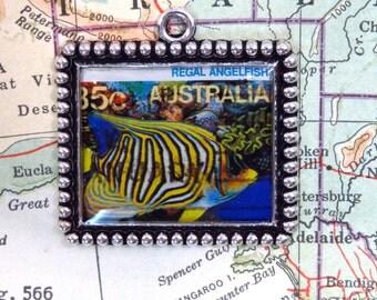 Vintage Australia Postage Stamp Regal Angelfish Necklace Pendant Key Ring