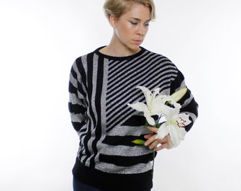 Vintage 80's sweater, black and silver lurex, asymmetrical stripe pattern, striped, stripes, new wave, glam, Mademoiselle brand - Medium