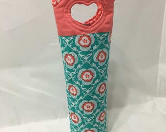 Coral and Teal Wine Gift Bag Wine Bag Cocktails Fabric Wine Bag Made in USA