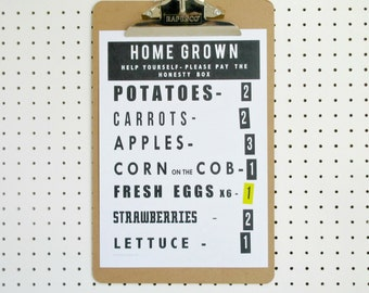 Home Grown Vegetables Print A4 Poster Art