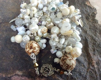 white beaded chain bracelet. Double beaded wire wrapped gemstone glass intricate bracelet