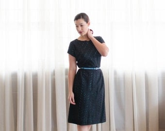 Vintage 1950s Eyelet Dress - 50s Little Black Dress - Peek-a-Boo Dress
