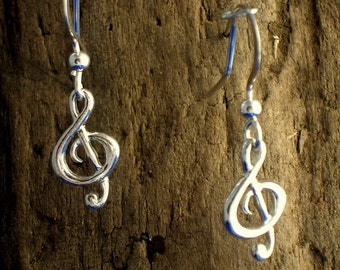 Treble Clef Earrings,  Music Earrings, Music Note Jewellery, G- clef earrings, Silver, Music Jewellery, Gift for a Musician, Gift wrapped.