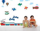 Train Planes Wall Decal, Kids Wall Decals, REUSABLE Fabric Wall Decals for Kids, Boys Decal, A213