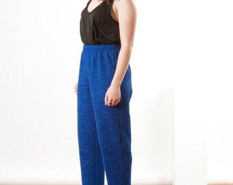Blue Textured Pants / High Waisted Pants / Retro Elastic Blue Pants