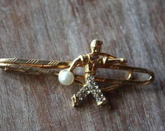 Vintage 1960's Bowling Clip // 50s 60s Novelty Hairclip // Rhinestones Pearl Tieclip //NOS Barette // Pin Up