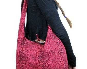 PINK CROSSBODY BAG - Pink Bag - Hippie Purse - Slouch Bag - Slouchy Hobo Bag - Bohemian Bag - Cross Shoulder Bag - Hobo Bag - Hippie Purse