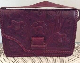 Vintage 1950s Handbag Purse Deep Red Genuine Leather Marked Gaitan Made In Mexico Adjustable Hand Strap