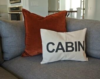 SALE! CABIN Pillow Cover/ 12x16/ Cream Fabric