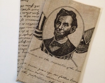 Vintage Linen Tea Towel - Abraham Lincoln and the Gettysburg Address