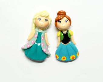 Anna & Elsa Spring Set, Princess Pendant, Clay Charm, Bow Center, Brooch, Magnet, Ornament, Gift, Cold Porcelain Clay Princess Figurines