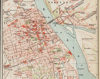 1893  Antique map of Warsaw, Poland.  120 years Old lithograph print.