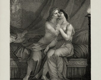 1913 Rare antique Curiosa art print, the kiss, old engraving