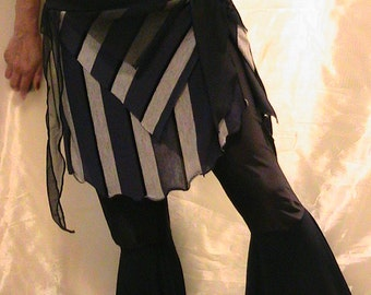 Belly dance hip scarf, ATS hip skirt, cover up with Dark Blue and Gray stripes  XL