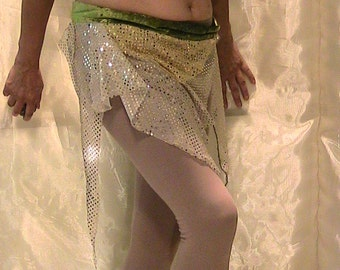 SALE!!!Belly dance hip scarf, hip skirt, hip belt in shimmering silver with green velvet waistband MED
