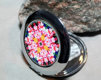 Peruvian Lily Compact Mirror Pocket Mirror Boho Chic Mandala New Age Sacred Geometry Hippie Kaleidoscope Unique Gift For Her Tickled Pink