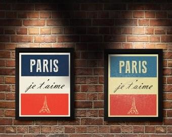 Je t'aime, Paris France, Eiffel Tower, travel poster, I Love Paris, City of Lights, Flag of France, tricolor, La Tour Eiffel, city of love