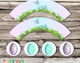 Easter Cupcake Wrapper and Topper - Easter Party Set - School Parties / Gift Giving - Favours - Printable - Digital File - INSTANT DOWNLOAD