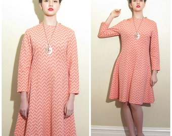 Vintage 1960s Day Dress in Orange and White Geometric Print / 60s A Line Long Sleeved Dress / Medium