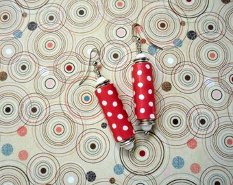 Red and White Polka Dot Earrings (2283)