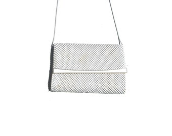 white chainmaille cross body strap versatile clutch crossbody club purse small 80s vintage 1980s cocktail date evening bag women one size