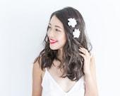 white blossom hair pin set of two // bridesmaid hair accessory, flower bobby pins, delphinium floral hair clip summer woodland garden