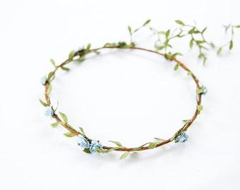 blue hanging garden rose leaf hair wreath circlet // flower crown rustic dainty whimsical romantic floral headpiece festival