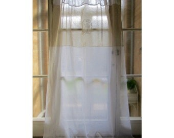 Linen Bedroom Window Panel, Personalized Monogram, White Ecru Shabby Chic Drapery Curtain, French Decor