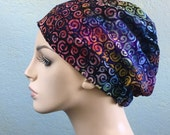 Turban Hat, Chemo Hat, Alopecia Cap, Slouch Hat, Rainbow Swirl Batik, Boho
