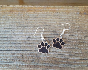 Black Paw Print Enamel Charm Earrings Wildcats Bears Cubs School Spirit mascot Dog Cat Foot Print tween teens college high school jewelry