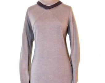 vintage grey knit dress - 1960s Nardis mod knit dress