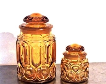 vintage amber glass canisters - 1940s-50s mid century glass canisters set of 2
