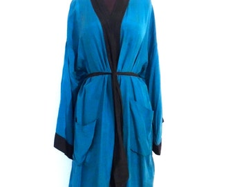 vintage silk robe - 1960s-70s Christian Dior men's teal/black 100% silk robe