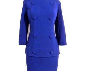 vintage Donovan Galvani skirt suit - 1960s mod royal blue double-button skirt suit