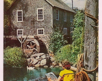 Cape Cod Artist Painting the Old Grist Mill in Brewster - Vintage Postcard Massachusetts Souvenir - New England Decor