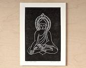 Small Buddha - Handmade Letterpress Print