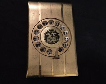 Address Finder, Telephone,  Rotary Dial A Name Index, Gold Tone Plastic Flip Top Organizer