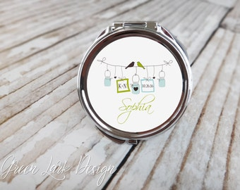 Personalized Compact Mirror Bridesmaids Gift - Bliss Mason Jar Line