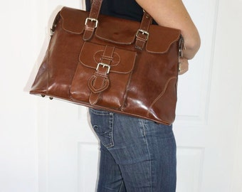 Glossy Dark Brown Leather Tote Shoulder Cross-body Bag Johanna L fits a 13 inches Laptop