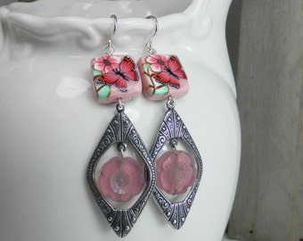 OPal Pink Floral and Butterfly Earrings featuring Beads by The Color Of Dreams